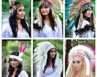Native American Woman's Tribal  Headband ~ Feather Faux Fur ~ Festival  Halloween Costume ~