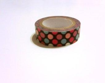 Washi Tape Sample #61 - pink and blue polka dots