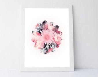 Dahlia art, flower wall art, flower art decor, flower art print, art print gift, instant download printable art, flower home decor print