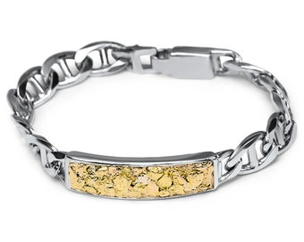 2449- Gold Nugget ID Braclet-Promotion 10% Off