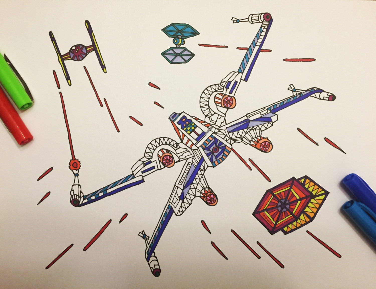 Coloring page x-wing - X Wing Fighter Pdf Zentangle Coloring Page Zoom