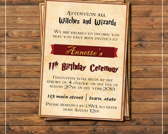 Harry Potter birthday party invitation, gryffindor inspired, for witches and wizards, 11th birthday