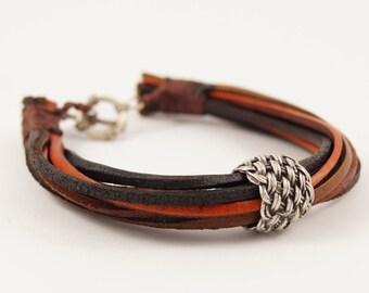 Multi Strand Leather Bracelet with Basket Weave Bead, Rusty Orange Brown Leather Bracelet, Stacked Leather Cuff, Stacked Leather Bracelet