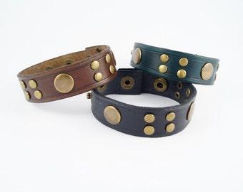 Studded Leather Bracelet in Green, Black or Brown, Studded Leather Wristband, Studded Leather Cuff,