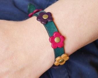 Colourful Flowers Studded Leather Bracelet, Flowers Studded Leather Wristband, Studded Leather Cuff,