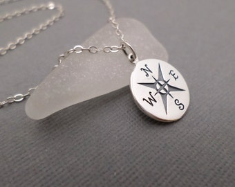 """Compass Necklace. Free Shipping. Silver Compass. Compass Charm. Compass Rose Jewelry. Silver Circle Necklace. Wanderlust Jewelry. 7/8"""""""