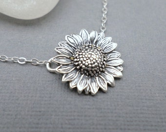 """Sunflower Necklace. Free Shipping. Sterling Silver Flower Pendant. Silver Circle Necklace. Rustic Oxidized. Summer Jewelry. Garden.  3/4"""""""