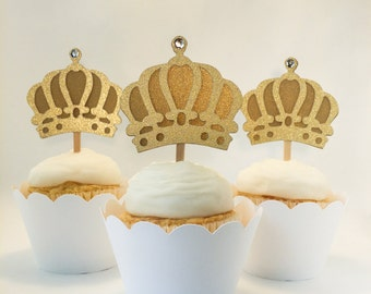 Set of 12 –Gold Crown Cupcake Toppers - Gold Crown Cupcake Picks – Food Picks – Gold Crown