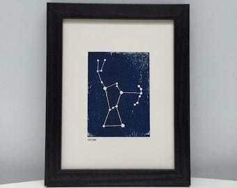 Framed Orion Constellation Print. Unique Original Woodblock Print. 8 x 6 Star Print. Birthday Gift. Home Decor.