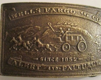 Wells  Fargo and Company Stagecoach Belt Buckle--Brass,    Vintage