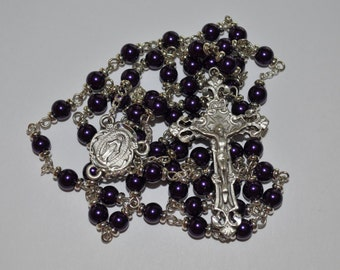 Dark Puprle Pearly Glass Rosary