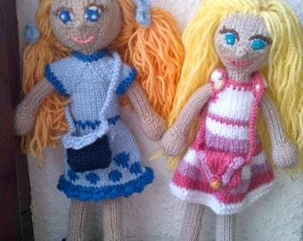 handmade dolls, sisters dolls, pair dolls, custom made dolls, gestrickte puppen, benutzerdefinierte Puppen