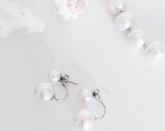 White Cotton Pearl / 2 way earrings / silver.  Wedding Jewelry. Bridal