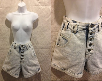 "1980s 90s Acid Wash High Waisted Grunge Shorts Size Medium - 28"" Waist"