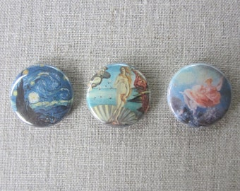 "Famous Paintings- Starry Night, The Birth of Venus, The Swing 3-pack pin set 1"" pinback buttons"