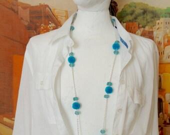 Turquoise pom pom chain, pom pom necklace, blu chain, fun summer jewelry, resort jewelry, beads necklace, pompom necklace, boho necklace