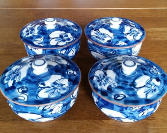 Vintage Japanese Handpainted Blue Floral Porcelain Lidded Bowls Set of Four, Signed