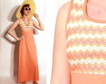 Vintage 70's Chevron Orange Stripe Maxi Dress Boho Hippie XS