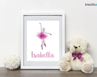 BALLERINA Wall Art Decor 8x10 - Digital Print, Personalised with your little girls name! Nursery Girls Bedroom Wall Art Print