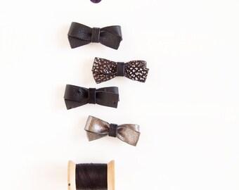Baby Leather Hair Bow Crocodile Clip or Soft Nylon Headband, Black Mix Bows, Adult Bow, Baby Bow, Soft Nylon Bow, Newborn Bow, Leather Bows