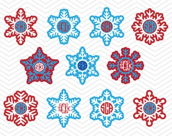 Snowflakes Monogram Christmas Frames DXF SVG PNG eps Holidays Cut File for Cricut Design, Silhouette studio, Sure A Lot, Makes the Cut