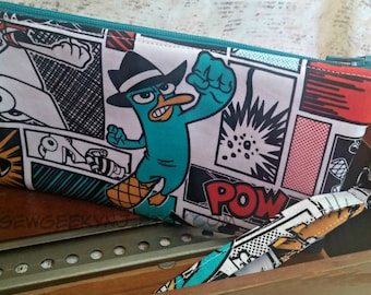 Agent P Wristlet - Phineas and Ferb Zippered Pouch - Perry the Platypus Wallet - OOAK - Custom Made