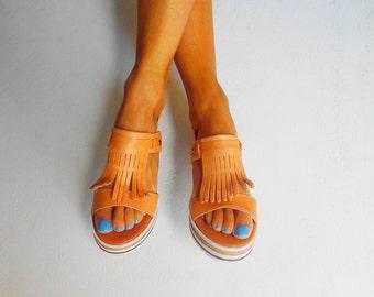 Fringed Leather Sandals, Boho Sandals, Platform Leather Sandals, Fringed Espadrilles, Greek Sandals ''Frida''