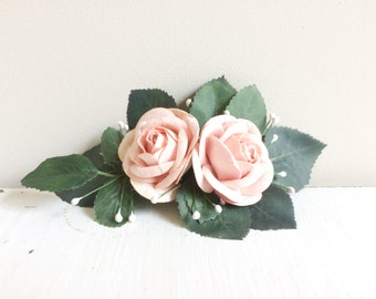 Rose Hairclip, Rose Bridal Hairclip, Bridal Hairclip, Pink Rose Hairclip, Artificial Flower Clip, Elegant Hairclip, Floral Bridal Hairclip