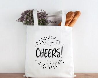 Canvas Tote Bag, Cheers Tote Bag, Celebration Cotton Tote Bag, Printed Tote Bag, Market Bag, Shopping Bag, Reusable Grocery Bag 0052