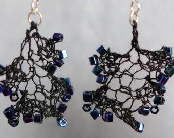 Hand-Knit Earrings, Dark Blue Iris Seed Beads, Black Silk Yarn, Chandelier Style Earrings, Dangle Earrings