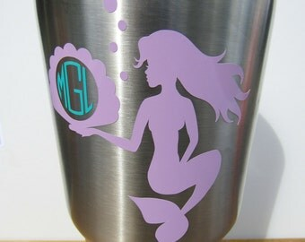 Little Mermaid Monogram Decal! Monogram Sticker DIY Yeti Decal Mermaid Decor Car or Wall Decal Water Bottle Seashell Monogram Gift