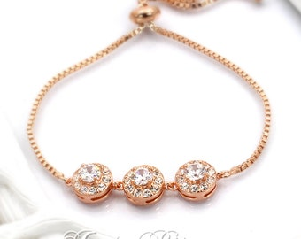 Wedding Bracelet Rose Gold Zirconia Bracelet Bridesmaid Wedding Bracelet Zirconia Bracelet Wedding Jewelry Bridal Bracelet Bridal Jewelry