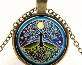 Bronze Funky Tree Cabochon with Bronze Chain
