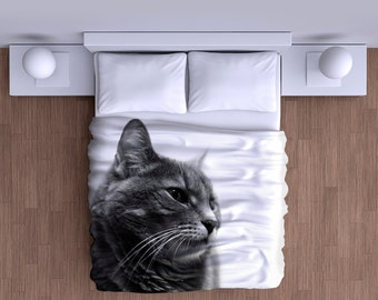 Cat Black and White Duvet Cover - Super Soft Duvet