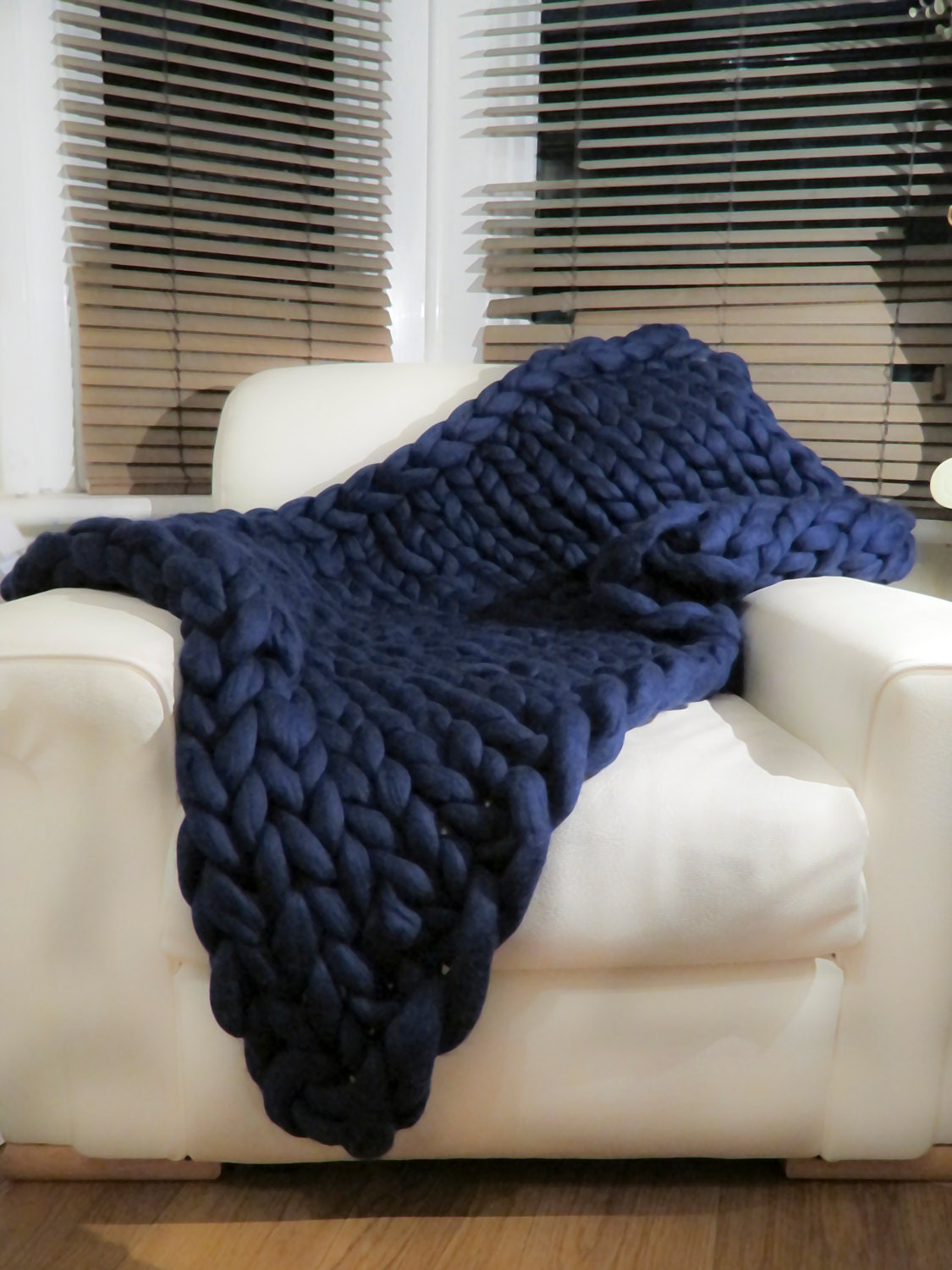 Knitting Wool Blanket : Super chunky knit blanket pure merino wool navy