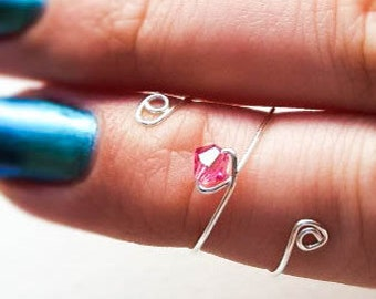 Pink Midi Ring, Above Knuckle Ring, Adjustable Jewellery