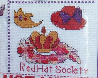 Red Hat Counted Cross Stitch Sampler, red and purple cross stitch, red hat society cross stitch, 9x11
