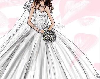 Custom Bridal Fashion Illustration