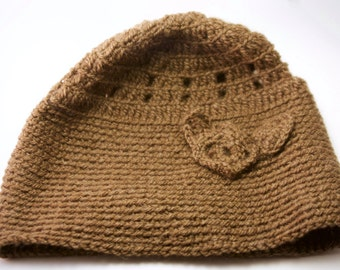 Retro Brown with a flower motif crochet Beanie.