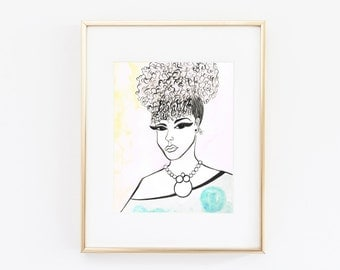 Natural Babe in Baubles| Ink illustration, Naturally curly, Curly girl, Natural Hair, Art, Fashion