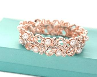 Pearl bracelet, Rose gold wedding bracelet, Pearl crystal bracelet, Wedding jewelry, Bridal accessories, Bridesmaid bracelet  0175RG