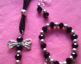 Set dragonfly, pendant, bracelet and matching earrings