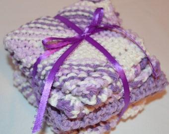 Knitted Wash Cloths / Set Of 3 / Lavender / Bath Accessories / Wash Cloths / Dish Cloths / Gift For Her / Gift Set / Handmade