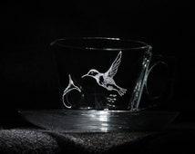 Hummingbird Engraved Tea Cup and Saucer, hummingbird glass, hummingbird tea cup, hummingbird art, hummingbird mothers day, hummingbird gifts