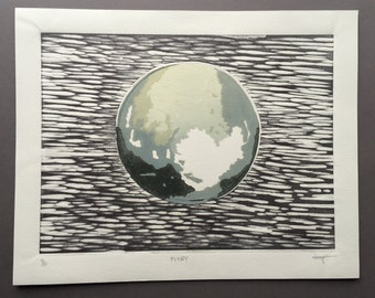 Flyby - Hand-pulled Reduction Woodcut of Pluto based on NASA's New Horizons Photo