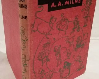 A.A. Milne, When We Were Very Young, Red Vintage Children's Poetry Book Winnie the Pooh Christopher Robin Nursery Book 1951 edition