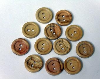 12 Mediterranean Olive wooden round button. 2 holes. 14mm. #EB34