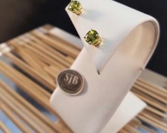Paridot Earrings, Paridot Stud Earrings, 14kt Yellow Gold Paridot Earrings, August Birthstone Earrings,#E1007