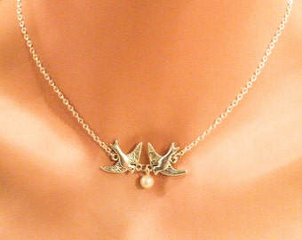 Swallow Bird Charm Necklace
