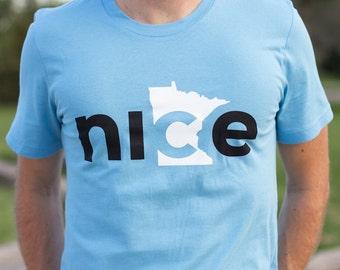 Nice Minnesota T-Shirt, Blue, FREE SHIPPING - State Shirt, Minnesota Nice Shirt, Adult T-shirt